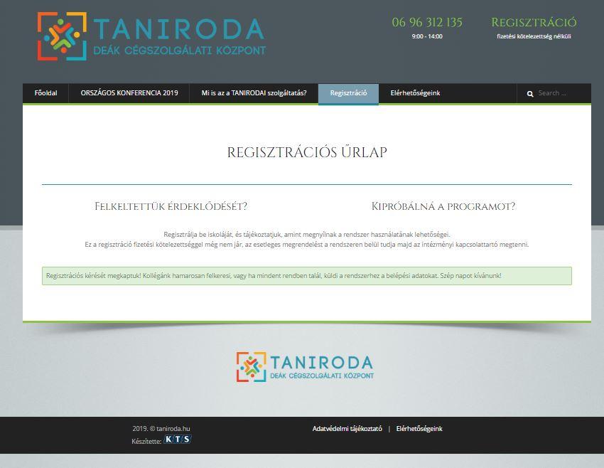 Regisztrációs igény sikeres elküldése