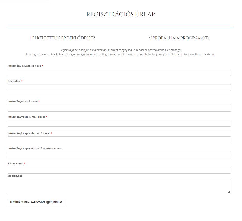Intézményi regisztrációs űrlap