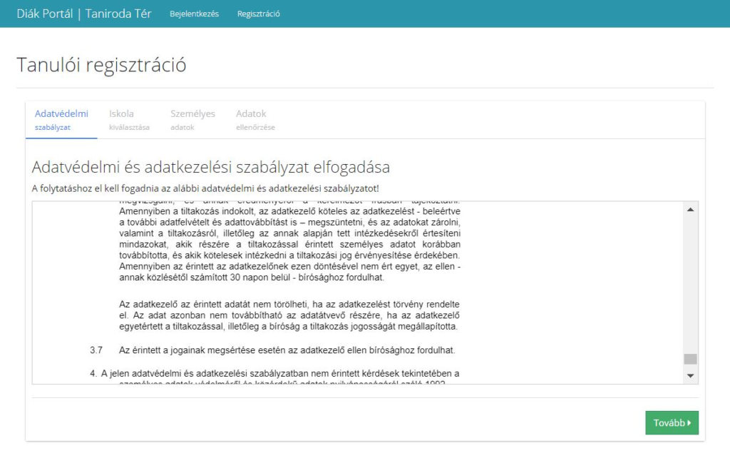 Diák regisztráció adatvédelmi nyilatkozat elfogadása