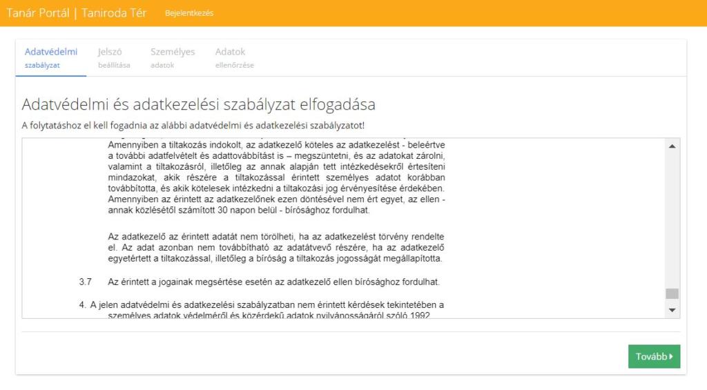 Tanári regisztráció adatvédelmi nyilatkozat elfogadása